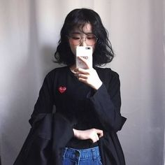 ulzzang, girl, and asian image Korean Street Fashion, Korea Fashion, Asian Fashion, Girl Fashion, Hairstyles With Bangs, Trendy Hairstyles, Girl Hairstyles, Korean Hairstyle Bangs, Korean Short Hair Bangs