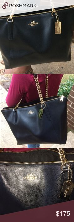 "Coach Black Ava chain shoulder tote Stunning patent cross grain leather shoulder tote with gold chain strap and top zipper closure. Length 9.5"" height 5.5"" Coach Bags Totes"