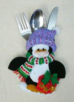 Details about Bucilla Snowman & Penguins ~ Felt Christmas Silverware Holder Kit 6 Pces - Her Crochet Handmade Christmas Decorations, Felt Christmas Ornaments, Christmas Stockings, Christmas Holidays, Felt Crafts, Decor Crafts, Holiday Crafts, Holiday Decor, Home Decor