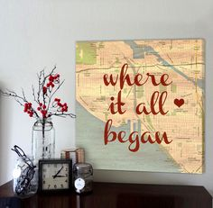 Anniversary Cotton Map Where It All Began 2nd Gift For Husband Gifts
