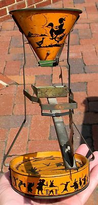 Excellent Vintage CA 1920's Tin Sand Dump Toy Seesaw Great Halloween Colors