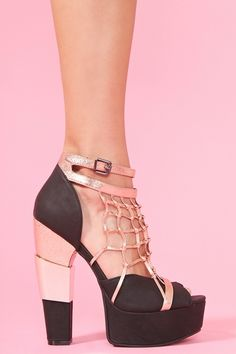 Caged Metallic Platform -- cant stop looking at shoes...