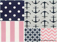 Modern Nautical, Pink and Navy Custom Crib Set, Design Your Own Nursery on Etsy, $220.00