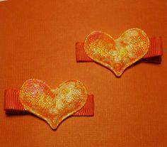 Set of Shimmering Heart Hair Clips by JulietsJems on Etsy, $4.00