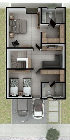 2 Bedroom House Design, Bungalow House Design, House Front Design, 2 Storey House Design, Small House Design, Modern House Design, Small House Layout, House Layout Plans, Duplex House Plans