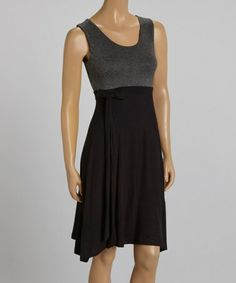 Look what I found on #zulily! Charcoal & Black Tie-Waist Sleeveless Dress #zulilyfinds