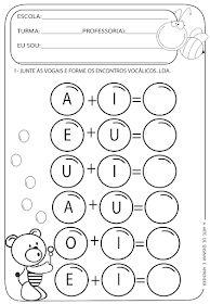 A Arte de Ensinar e Aprender: Atividade pronta - Encontros vocálicos Pre School, Preschool Activities, Kindergarten Worksheets, Bingo, Phonics, Kids Learning, Literacy, Teaching, Writing
