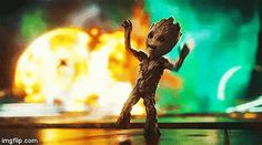 Dancing Groot (*Explosions in the background*)