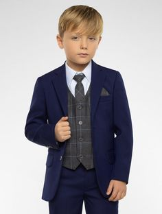 Shop for boys blue & grey slim fit suit Kingsman at Roco. Perfect as a boys blue page boy suit with free UK delivery & 30 day returns.