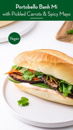Fun vegetarian dinner idea: Portobello Vietnamese Banh Mi Sandwiches, with quick-pickled carrots and spicy mayo. So delicious - and packed with veggies! thenewbaguette.com #portobellomushrooms #banhmisandwich #vegetarianrecipe #vietnameserecipes Amazing Vegetarian Recipes, Vegetarian Italian, Vegetarian Recipes Dinner, Vegetarian Vietnamese, Delicious Recipes, Healthy Recipes, Portobello Recipes, Banh Mi Recipe, Pickled Carrots