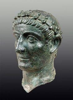 Bronze head of Emperor Constantine I The Great (320-325 CE) on display at Belgrade National Museum