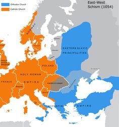 The East-West Schism of 1054: The distribution of Roman Catholicism and Eastern Orthodox beliefs in Europe