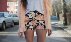 Floral pastel shorts
