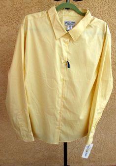 Pendleton 24W Yellow Shirt Wrinkle Free Cotton Career Long Sleeves New w Tags #Pendleton #ButtonDownShirt #Career
