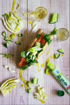 Extra crisp and fresh ...Pickled Fennel cucumber,smoked salmon and wasabi mayonnaise ...