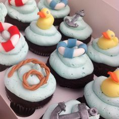 Nautical Themed Baby Shower Cupcakes by The Frosted Tier