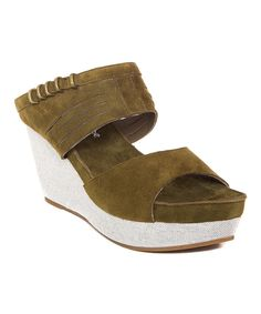 Look at this Antelope Olive Ankle-Strap Suede Wedge Sandal on #zulily today!