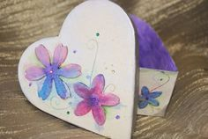 Purple hand painted heart trinket jewellery by handmadebystrawb