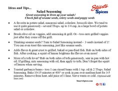 Ideas and tips for Stuart's Spices Salad Seasoning Spice Shop, Broccoli Slaw, Macaroni Salad, Coleslaw, Celery, Spices, Tips, Ideas, Food