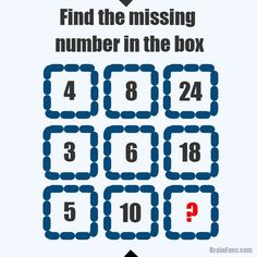 Brain teaser - Number And Math Puzzle - find the missing number in the box. Read the picture row by row. It's not that hard. Math Logic Puzzles, Number Puzzles, Math Numbers, Jigsaw Puzzles, Math Help, Fun Math, Math Games, Learn Math, Puzzle Games