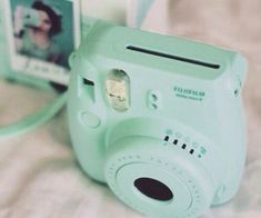 Minty Polaroid camera