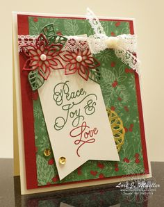StampinDreams.com    Stampin Up; Peace This Christmas stamp set; Flourish Thinlits dies