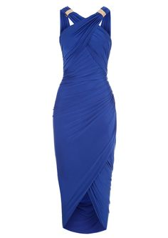 Formal or Bridesmaids Gown: Mika - Royal Blue Drape and Wrap Dress: This Cobalt Blue drape and wrap dress from Forever Unique has a cross over front, cowl low back and metal accessories. The dress is fully lined and has bust cups.