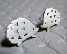 Little Playful Hedgehog  Sterling Silver Stud Earrings by pippoko,
