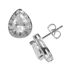 Silver-Plated Cubic Zirconia Teardrop Stud Earrings