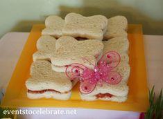 Butterfly Birthday Party - butterfly shaped sandwiches - eventstocelebrate.net