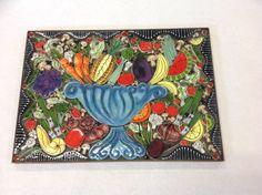 Custom project - Fruit and vegetable bowl tile mural by Santa Theresa Tile Works.  Each tile is handmade by trained tile artisans