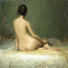 "Aaron Westerberg ""Nude with Fan"" 18x18 oil on panel (sold)"