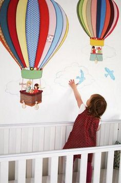 Hot air balloons wall stickers are the perfect way to instantly transform your children's bedroom, nursery or playroom. Simply Peel and Stick and your done! Nursery Wall Stickers, Vinyl Wall Decals, Balloon Wall, Hot Air Balloon, Belle And Boo, Boy Girl Room, Large Balloons, Fabric Textures, Nursery Ideas