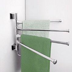 Amazon.com - Foxnovo Wall-Mounted Stainless Steel 4 Swivel Bars Bathroom Towel Rack Hanger Holder Organizer (Silver) -