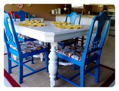 Painted & reupholstered dining table & chairs