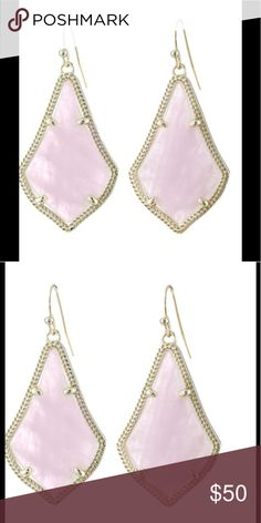 NWT Kendra Scott Alex Rose Quartz Earrings- Gold New with Tags Kendra Scott Rose Quartz-Gold Earrings. Beautiful Kendra Scott Jewelry Earrings