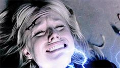 Blonde girl screaming electrical powers magical powers magic electricity