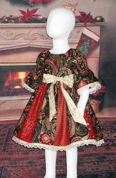 f8f2ed848675 Boutique Christmas Dress, Girls, Holiday, Red, Green, Gold, Handmade,  Peasant, Sleeves, Lace, Pictures, Baby 6 12 18 Toddler 2T 3T 4T 5T 6 7