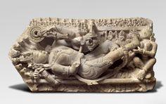 The God Vishnu Asleep on the Endless Serpent Medium: Sandstone Probably made in Madhya Pradesh, Rewa Region, India Period: Kalachuri (Haiyaya/Chedi) Dynasty Indian Eyes, Shadow Puppets, God Pictures, Hindu Art, Sacred Art, Stone Carving, New Delhi, Gods And Goddesses, Religious Art