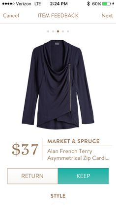 Market and Spruce Alan French Terry asymmetrical zip cardigan https://www.stitchfix.com/referral/7128736