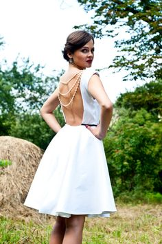 Taffeta short wedding dress with clearwater pearls on the back/ evening dress/ prom dress/ simple wedding dress/ tea-lenght wedding dress 2015 Wedding Dresses, Wedding Dress Styles, Bridal Dresses, Bridesmaid Dresses, Gown Wedding, Dress Prom, Lace Wedding, Taffeta Dress, Ball Dresses