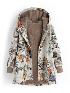 Holzkary Ethnic Print Hoodie Plus Size Women Vintage Cardigan Outerwear Warm Lined Coat Tops Coats For Women, Jackets For Women, Clothes For Women, Ladies Jackets, Mantel Outfit, Teddy Bear Coat, Outfits Casual, Outfits Damen, Vintage Coat