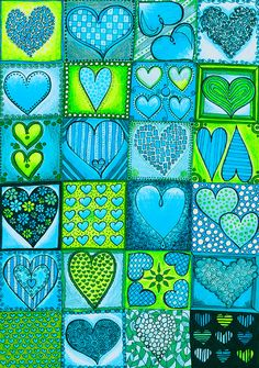 Original Drawing Romantic Heart Tiles 8.5x12 by EnchantedCrayons