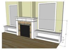 gas fireplace with built in benches windows - Google Search