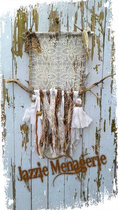 Dreamcatcher, driftwood, doily, crochet, jazzie menagerie, tassels, wood, handmade , square dreamcatchers