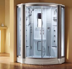 At home steam room/shower wrong orientation but poss best solution