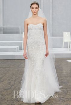 """Brides.com: . """"Charmain"""" blush georgette strapless sweetheart lace gown with silk white embroidered tulle overlay and Watteau train, Monique Lhuillier"""