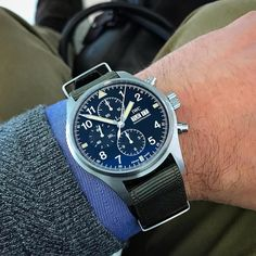Regram from @chrisgraingerherr // The just launched, online exclusive @iwcwatches Pilots Watch Chronograph IW377724. Details on HODINKEE.