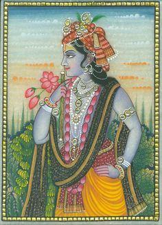Krishna Lila, Baby Krishna, Radha Krishna Love, Shree Krishna, Radhe Krishna, Rajasthani Painting, Rajasthani Art, Flower Painting Canvas, Silk Painting