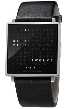 Watch that spells out the time by Biegert & Funk. Watch that spells out the time by Biegert & Funk. Gadgets, Bracelet Cuir, Bracelet Watch, Looks Cool, Swagg, Watches For Men, Hipster Watches, Geek Stuff, Bling